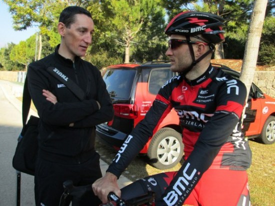 Former BMC Racing Team rider Marco Pinotti – seen here at left, speaking with Steve Cummings – is now part of the team's training staff. (Photo by Sean Weide, BMC Racing Team.)
