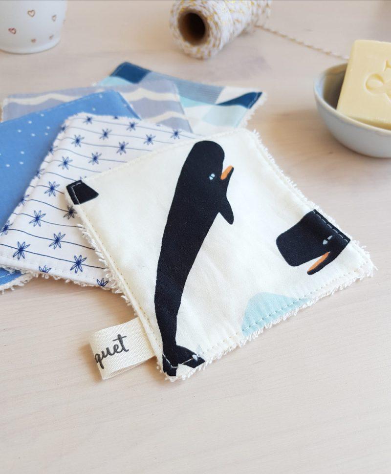 lingette carre disque demaquillant baleine cadeau femme jeune fille bleu bebe naissance
