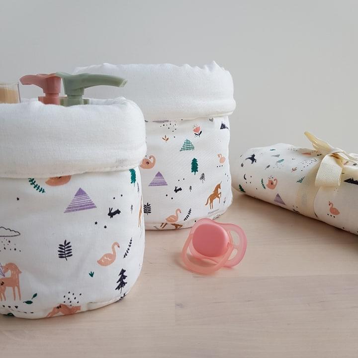 panier licorne paniere tissu rangement rose bebe fille cadeau naissance