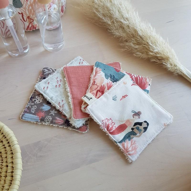 lingettes lavable demaquillantes coton sirene bilboquet rose violet carre eponge ecolo