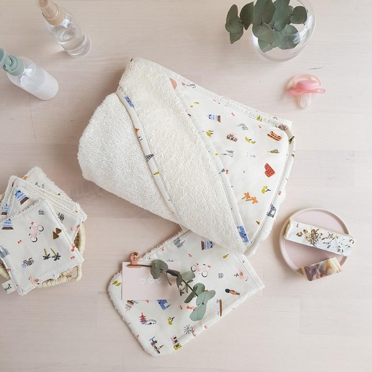 cape bain bebe sortie linge toilette serviette made in france fabrication francaise petite marque createur lyon france voyage
