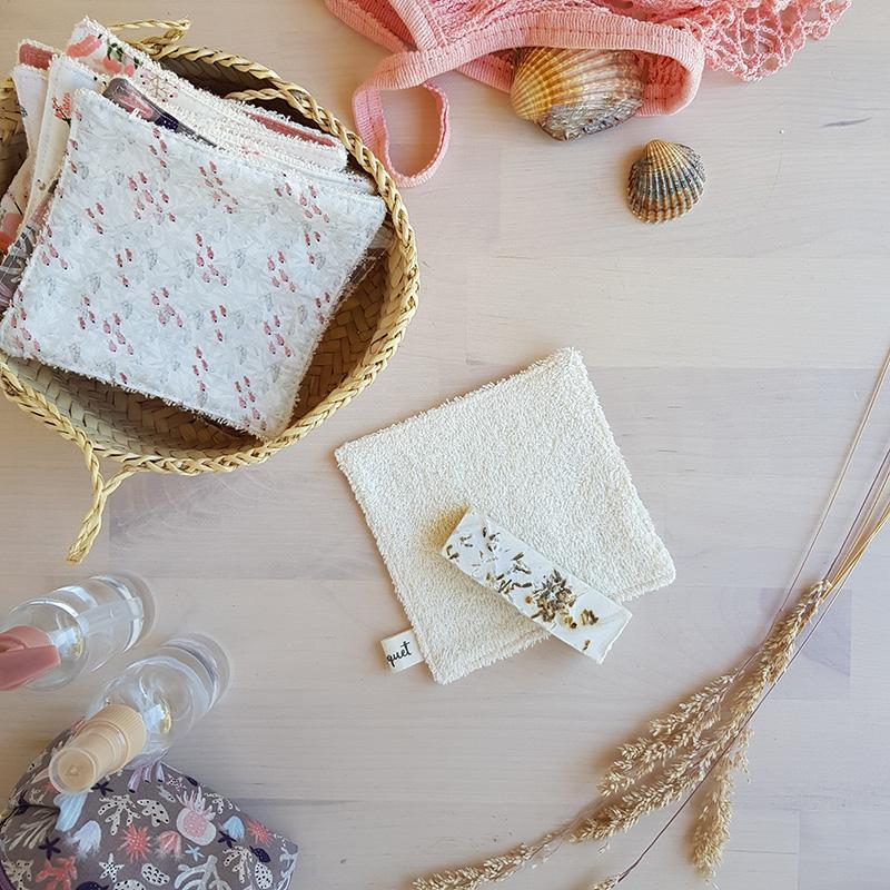 lingette lavables reutilisable change bebe couche ecologique cadeau zero dechet sirene rose beige lyon