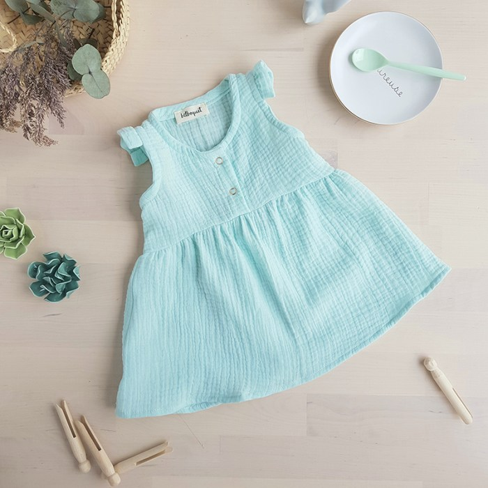 robe bebe fille double gaze coton vetement enfant oekotex vert lyon marque createur bilboquet kids