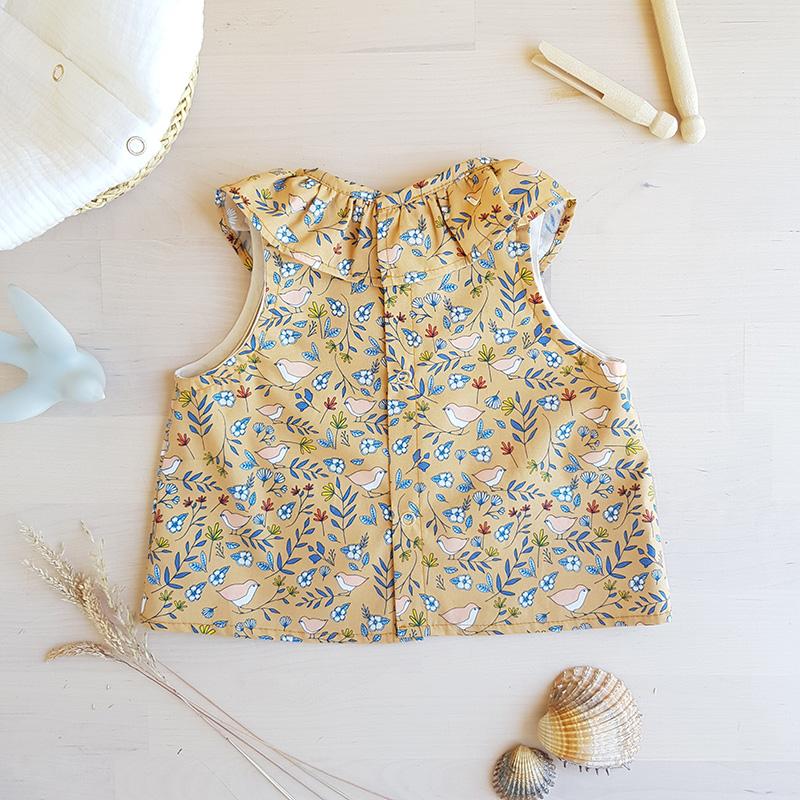 vetement haut top blouse bebe fille naissance ete sans manche col claudine fronce made in france fabrication francaise createur francais lyon bilboquet