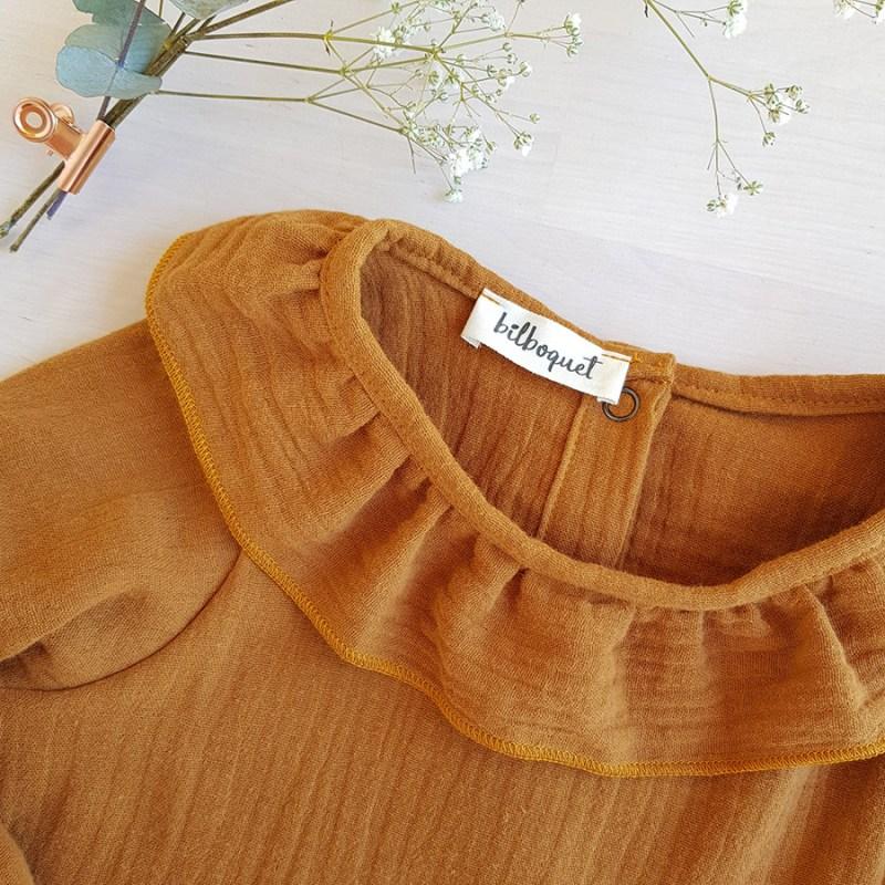 blouse bebe camel col claudine fronce mode enfant createur ethique france lyon bilboquet kids manche longue cadeau naissance coton