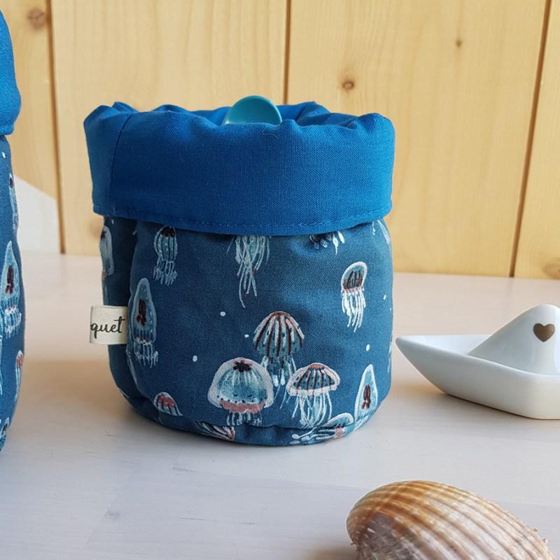 panier paniere panieres couche rangement tissu bleu canard coton lange table langer bebe naissance nouveau ne createur france lyon bilboquet kids fait main personnalisable coffret box