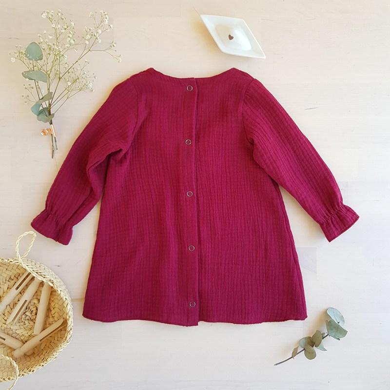 robe manche longue automne hiver cadeau petite fille bebe bordeau bourgogne rouge rose violette manche longue sans col pressions volant createur