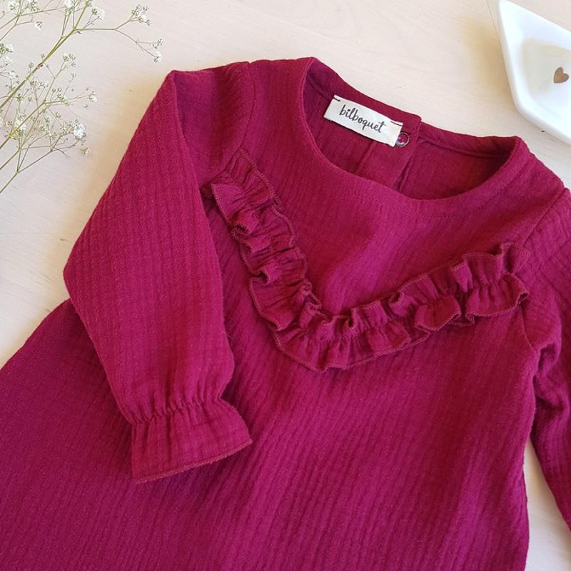 robe double gaze coton oekotex rose violet bourgogne bordeau froufrou volant petite fille fillette manche longue automne bilboquet