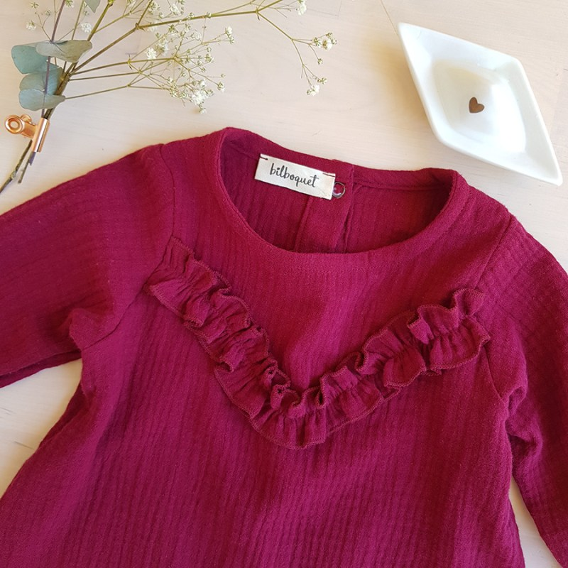 robe bebe double gaze coton oekotex bordeau rouge violet rose volant createur made france lyon bilboquet kids manche longue vetement enfant cadeau noel tenue