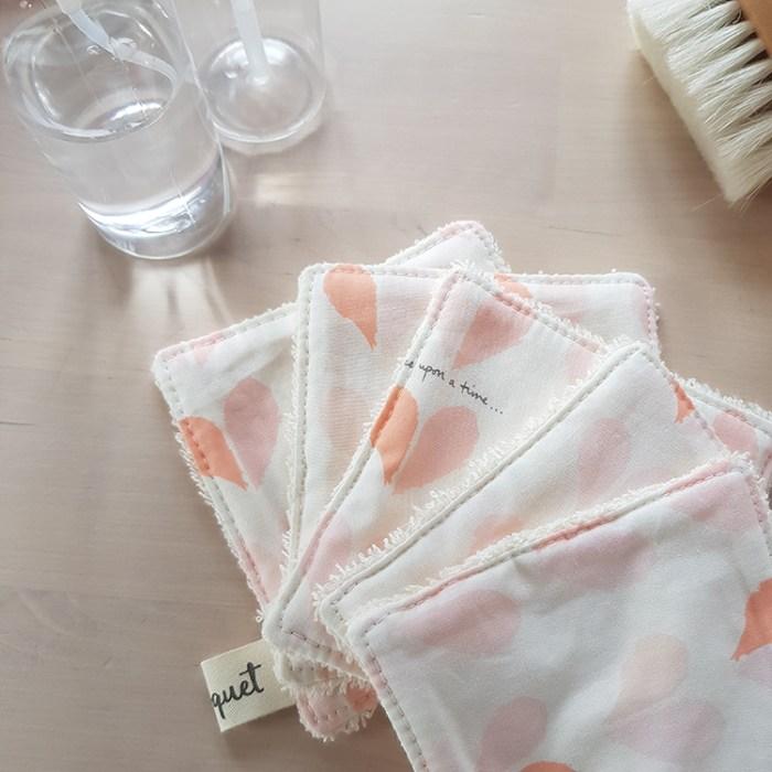 lingettes lavables coton petit coeur rose cadeau saint valentin ecolo pas cher made in france createur lyon bilboquet rose orange oekotex standard 100