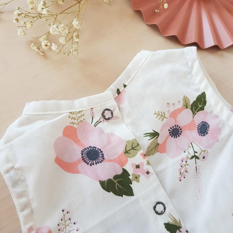 vetement bebe enfant robe rose blanc fleur mode lyon createur volant fabrication francaise made in france bebe fille liberty vintage motif bapteme demoiselle honneur