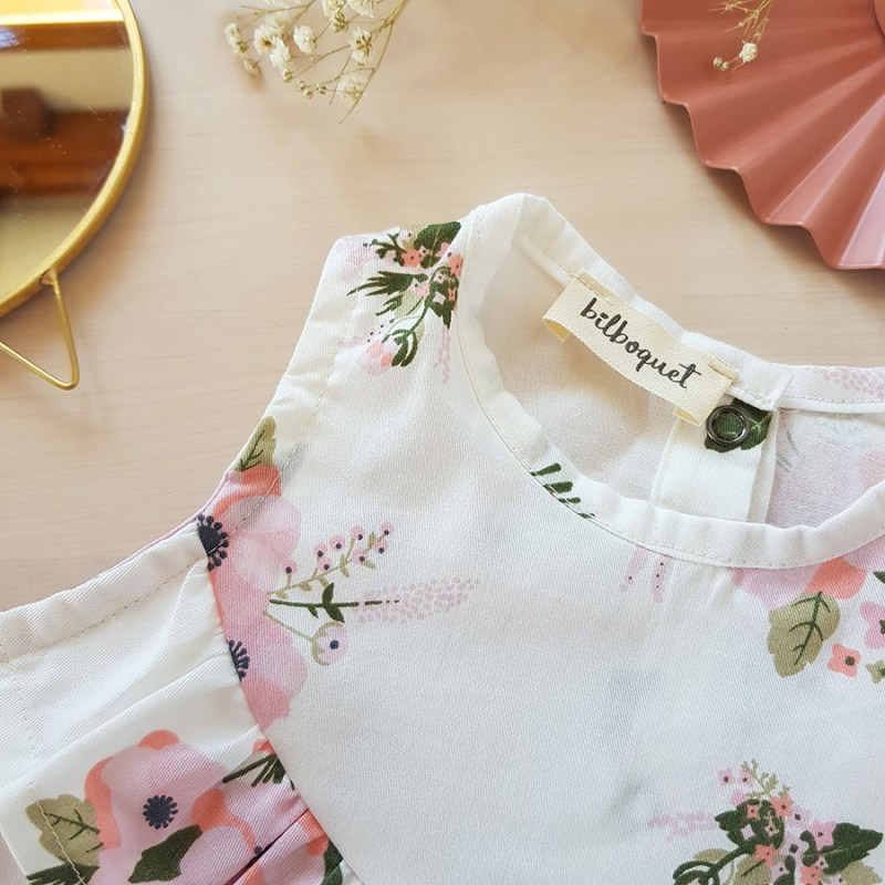 vetement bebe enfant robe rose blanc fleur mode lyon createur volant fabrication francaise made in france bebe fille liberty vintage bilboquet
