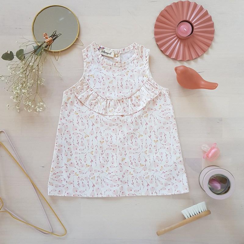 vetement bebe enfant robe rose blanc fleur mode lyon createur volant fabrication francaise made in france bebe fille liberty vintage sans manche