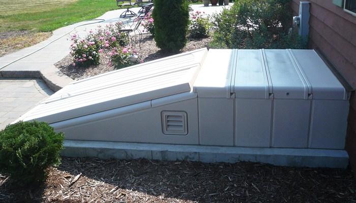 Basement Door Accessories | Outdoor Basement Stairwell Covers | Sloped | Step | Outside | Window Well | Basement Egress Door