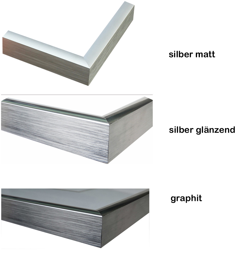 Bilderrahmen 60x80 Silber Matt Metallrahmen Aluminium Drehspannfedern