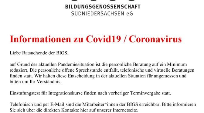 Informationen zu Covid19 / Coronavirus