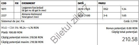 Biletul zilei fotbal 28 Octombrie 2016