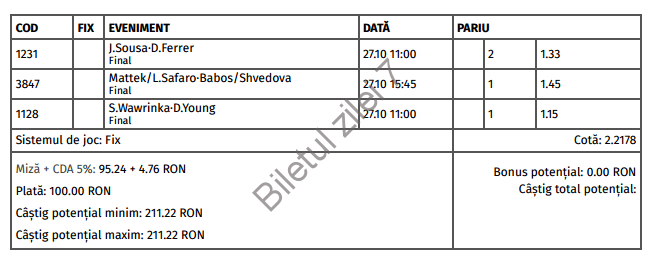 Biletul zilei tenis 27 Octombrie 2016