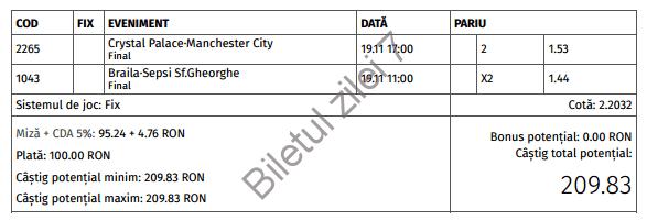 Biletul zilei cota 2 (19.11.2016)