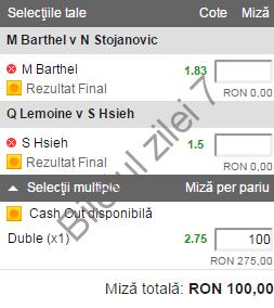 Biletul zilei tenis 14 Decembrie 2016