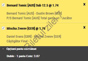Biletul zilei tenis 25 Aprilie 2017