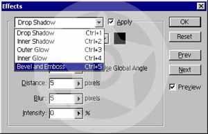 Effects mönüsü açıldığı zaman Drop Shadow seçeneği zaten otomatik olarak uygulanmış olacak. Drop Shadowun ayarlarına dokunmadan Bevel And Emboss (Ctrl + 5) seçeneğine gidip yandaki Apply kutucuğunu işaretleyelim.