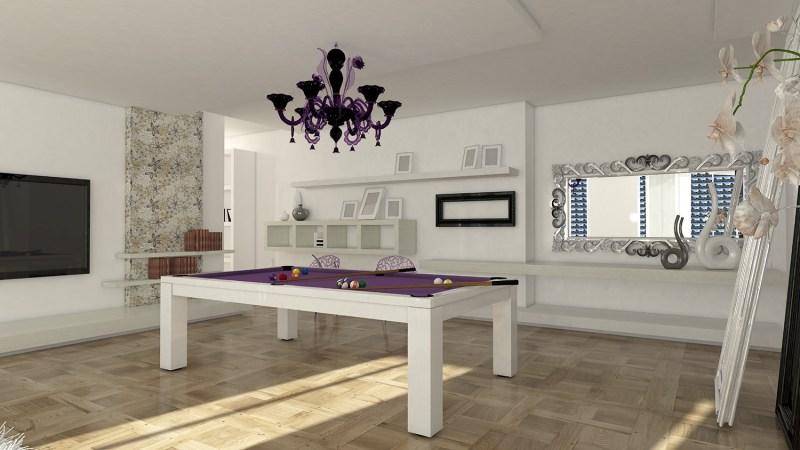 tavolo biliardo italia quattro laccato bianco