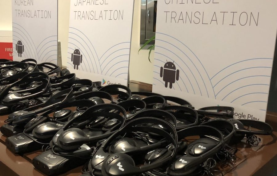 Translation Headsets ready for pick up