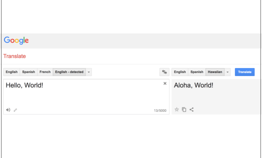 Google Translate Hawaiian