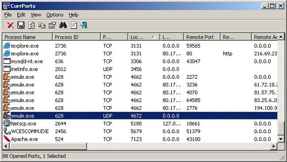Netstat Programı Kullanilan Portlar ve bunlara bagli olan IP Numaralari Gösterir