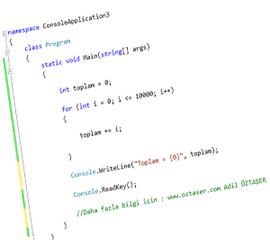 Visual Studio C# Dersleri- C# For Döngüsü Örnekleri