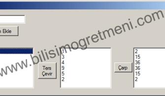 C# listBox'a Eklenen Sayıları Ters Çevirip Çarpan Program