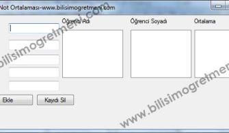 C# Örnekleri – Listbox Not Ortalaması Hesaplama