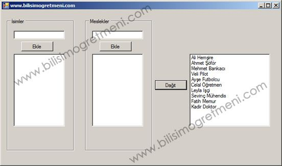C# Örnekleri – Listboxlara Girilen İsim ve Meslekleri Rastgele Dağıtma