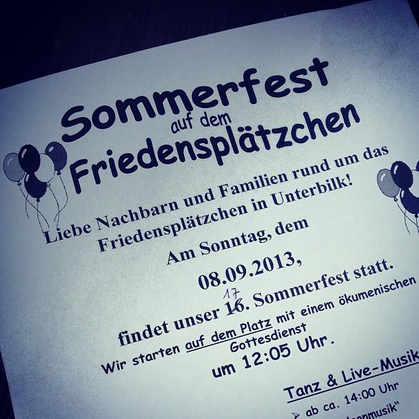 Kalendereintrag: Sommerfest auf dem Friedensplätzchen...
