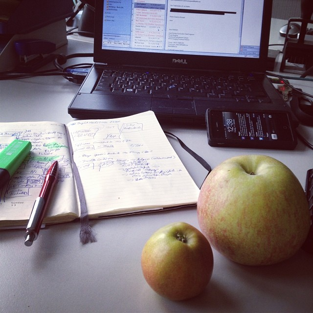 An Apple (plus this tiny one) a day, keeps the... usw. Der Snack am Freitag Abend im Büro...