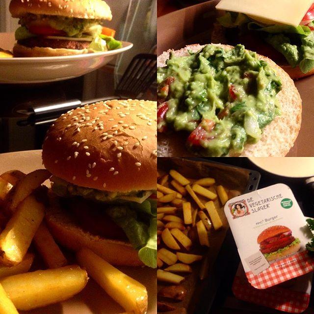 Mmhhhjjam, VeggiBurger mit Guacamole und selbstgeschnitzten Pommes :-)