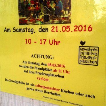 Übrigens - am Sonntag werden die Plätze für den Nachbarschaftströdel auf dem Friedensplätzchen verlost und vergeben :-)