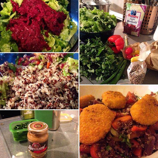 Eine leckere Kombi : Quinoa mit Rotkohl und grünem Salat.