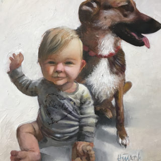 baby and dog portrait painting