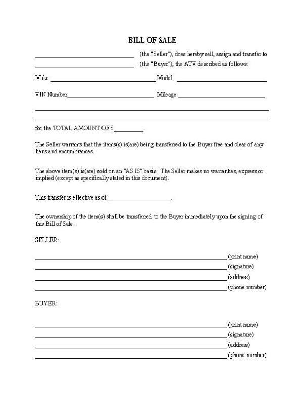 ATV Bill of Sale Form