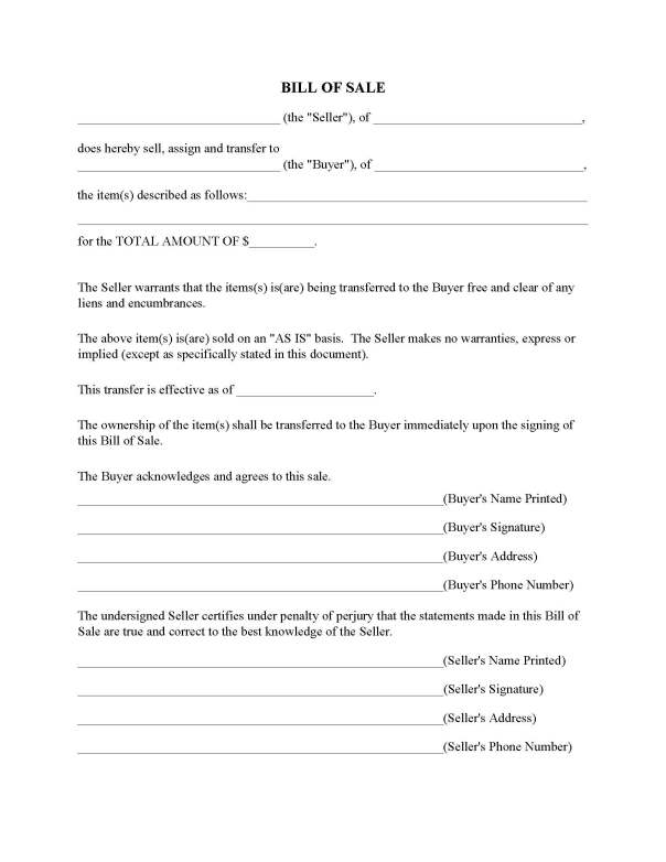 Bill of Sale Forms By State