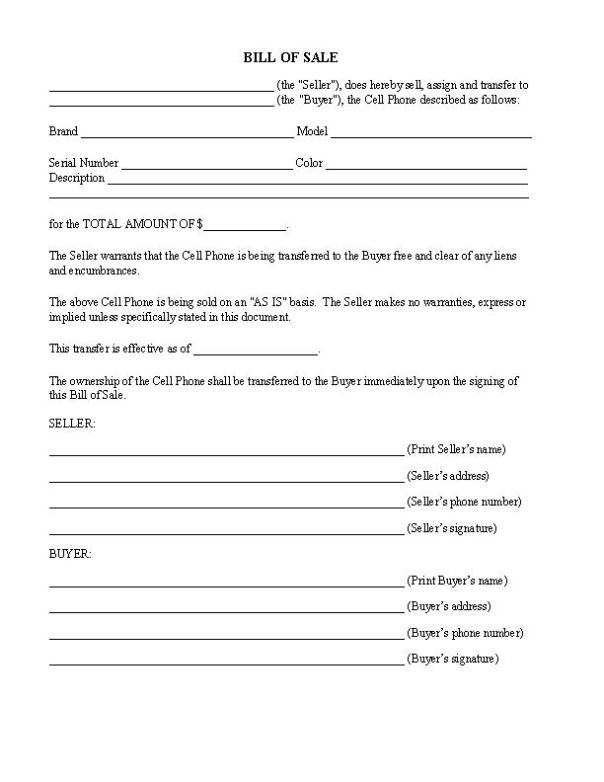 Cell Phone Bill of Sale Form