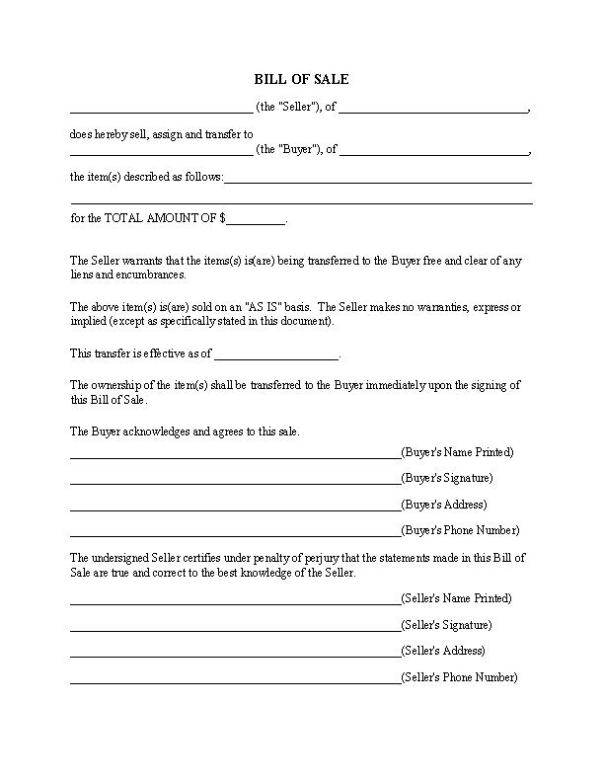 Easy Bill of Sale Form