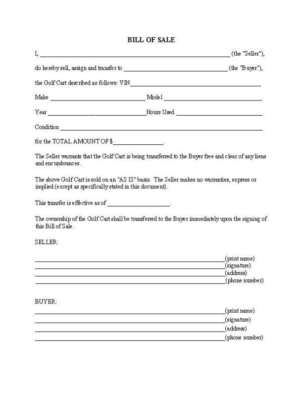 Golf Cart Bill of Sale Form