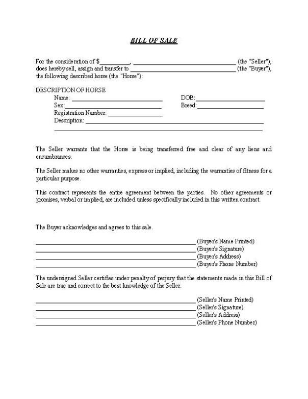Hawaii Horse Bill of Sale Form