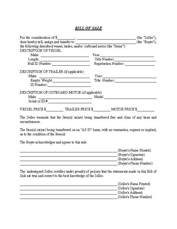 Maine Boat Bill of Sale Form