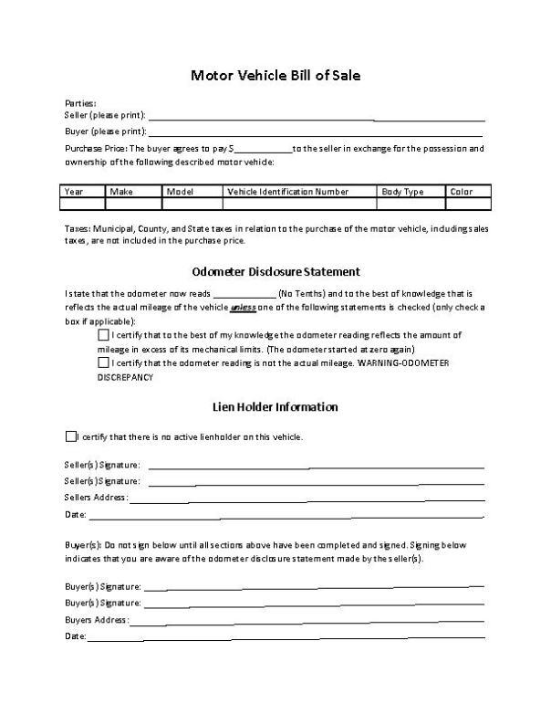 Maine RV Bill of Sale Form