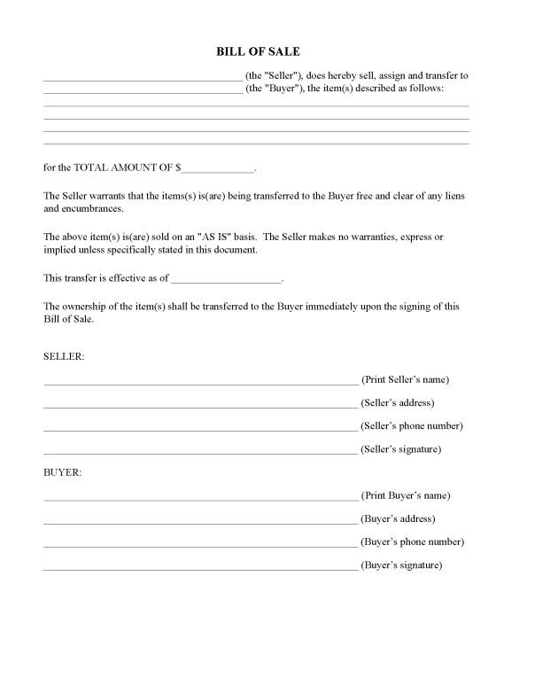 Massachusetts Simple Bill of Sale Form