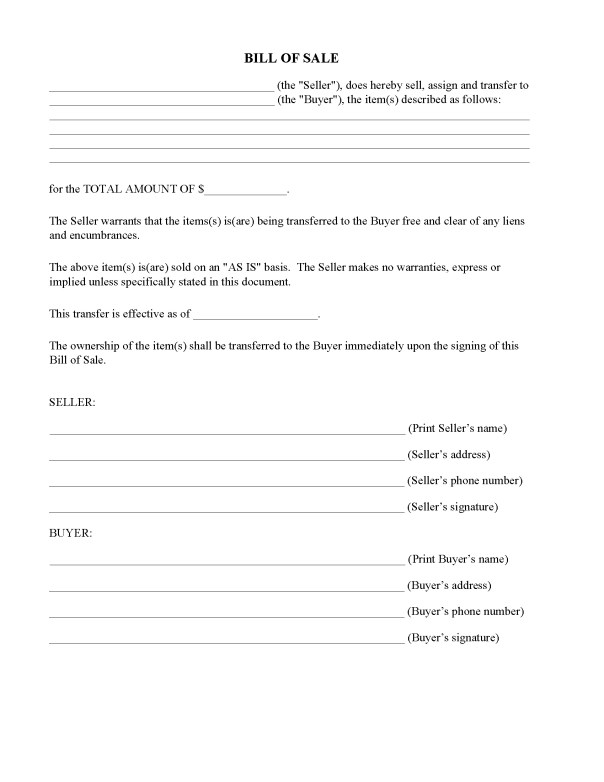 North Carolina Bill of Sale Form